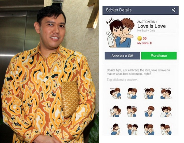 Dave Laksono, anggota DPR RI Komisi I dari partai Golkar dan Sticker LGBT di APlikais LINE