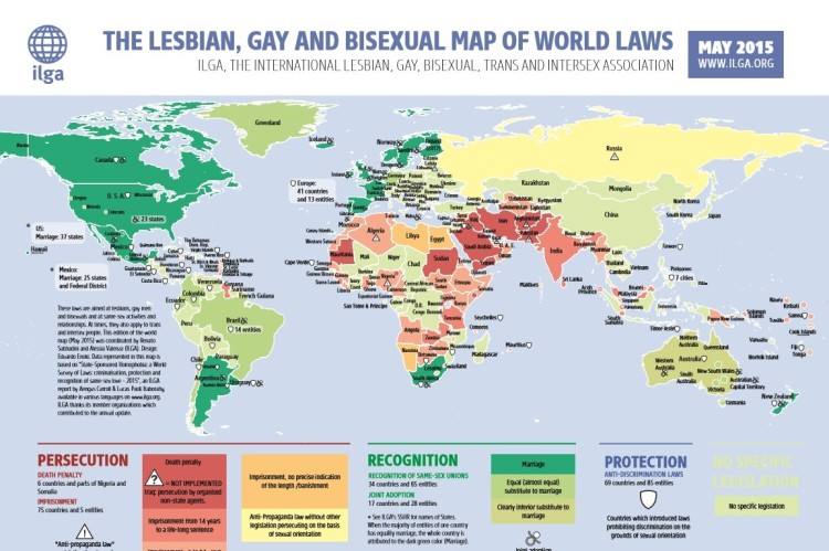 Lesbian, Gay and Bisexual Map of Law 2015 Sumber ILGA
