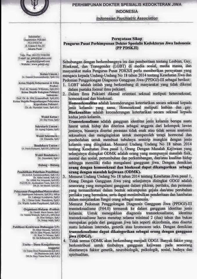 Pernyataan Pengurus Pusat Perhimpunan Dokter Spesialis Kedokteran Jiwa Indonesia (PP PDSKJI) halaman 1