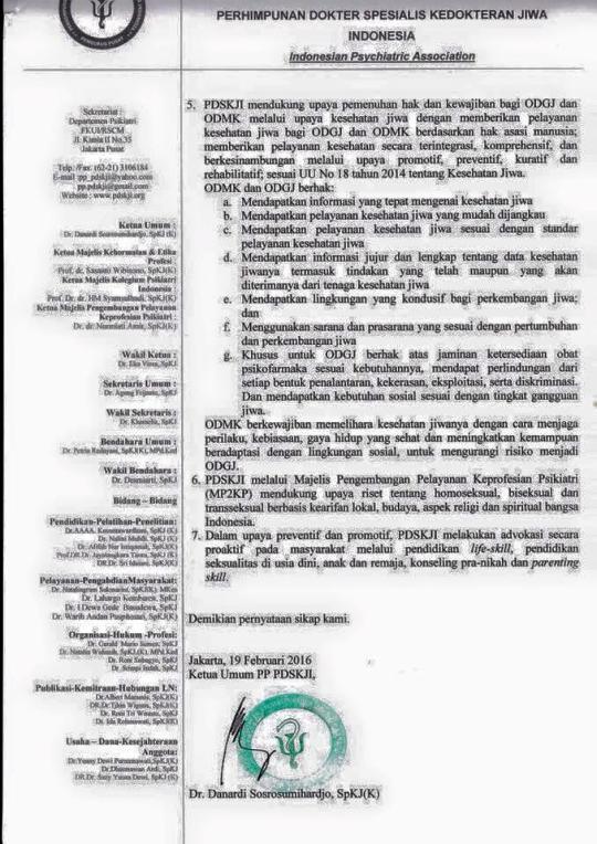 Pernyataan Pengurus Pusat Perhimpunan Dokter Spesialis Kedokteran Jiwa Indonesia (PP PDSKJI) halaman 2