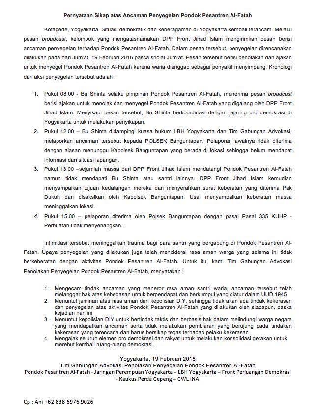 pernyataan sikap gabungan advokasi penyegelan Ponpes Alfatah