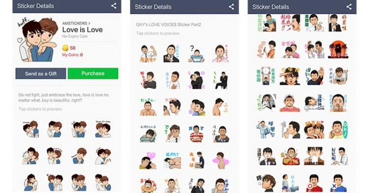 Sticker LGBT aplikasi LINE Sumber: okezone