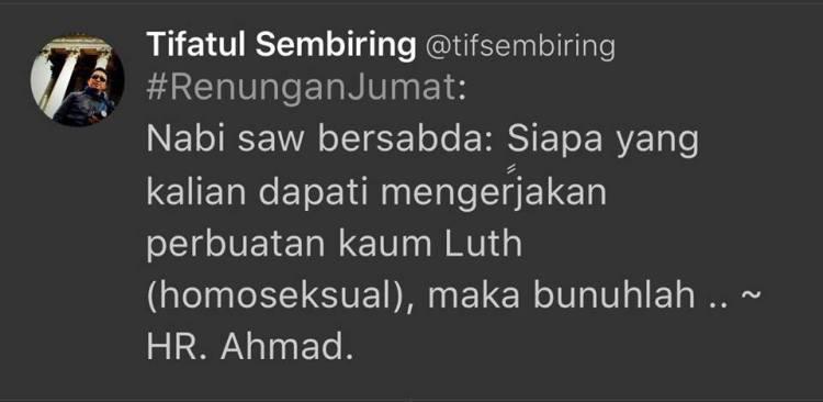 Tweet Tifatur Sembiring Jumat 26/2/2016