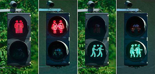 Lampu Lalu Lintas yang memperlihatkan pasangan sesama jenis di Utrecht. Sumber : globalcocktail.com
